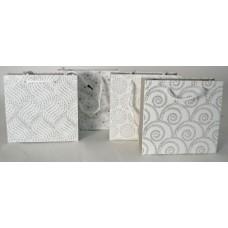 Dísztasak Fehér Alapon Csillámos Minták 15*14*6cm 12db/csomag