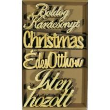 Fafigurák Karácsonyi Felírat 13-15cm