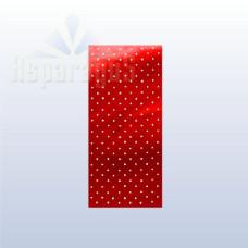 Celofán Tasak Asparagus Metál 15*35 Piros-Fehér Pöttyös 50 ív/csomag