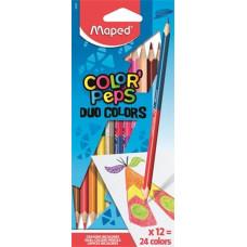 Ceruza (Színes Maped/12 Color Peps Háromszög Duo Kétvégű)