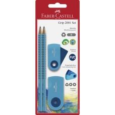 Ceruza (Grafit, Faber Gripp Sparkle Szett Radír+Hegyező Kék) 21 70 05