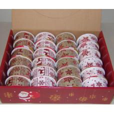Díszkötöző (Széles 6cm Karácsonyi Mintás Natur-Piros) 16db/doboz