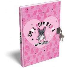 Emlékkönyv L-C Kemény Táblás A/5 21 We Love Dogs Pink