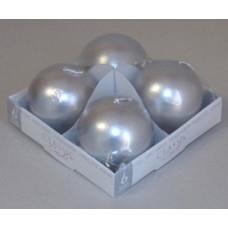 Gyertya Adventi Egyszínű Metál Gömb 4db/csomag Ezüst