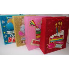 Dísztasak Happy Birthday Glitteres HKS-4246 18*23*8cm 4F 12db/csomag