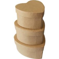 Papírdoboz Szív Szett/3 Natúr 7,5*4,5  6,5*4  5,5*3,5cm