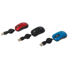 Egér Optikai Vezetékes mini kihúzható vezetékkel 3szín