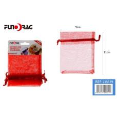 Dísztasak Organza 9*11cm Piros 5db/csomag 12 csomag/gyűjtő
