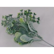 Szárazvirág Dekoráció 0101 Zöld Leveles Ág Virággal Hamvas Zöld