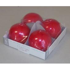 Gyertya Adventi Egyszínű Metál Gömb 4db/csomag Piros