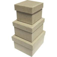 Papírdoboz Négyzet Szett/3 Natúr 4,5*4,5*3,8  6*6*4  6,5*6,5*4,5cm