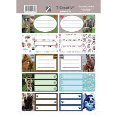 Füzetcimke (T-Creatív Mintás 21 Animals 25ív/Csomag)