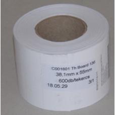 Etikett Cimke Tekercses 38*55mm Kartoncimke Thermo Fehér 600db/tekercs